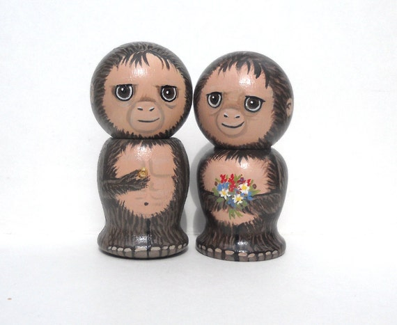Sasquatch Bigfoot  Wedding Cake Topper Kokeshi Dolls