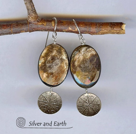 SALE - Stone Dangle Earrings, Sterling Silver Earrings with Faceted Brown Sunstone, Sterling Silver Jewelry, Sale Jewelry