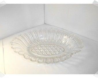 Clear Glass Dish w/Handles/Home Decor/ Supplies*