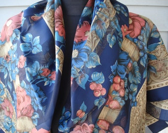 Vintage Large Scarf Shawl Blue Floral Silky Sheer Stripes Flowers