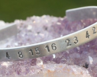 "LOST Numbers  ""4 8 15 16 23 42""  Hand-Stamped Aluminum Bracelet--FREE Gift & USA Shipping"