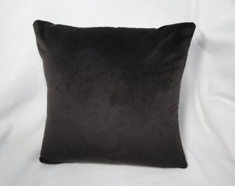 Pillow cover dark brown velvet, solid brown color, velvet pillow slip, 14 inch,