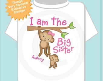 Big Sister Shirt - Big Sister Onesie, Personalized I'm the Big Sister Shirt with Monkeys, Big Sister Shirt 06182013a