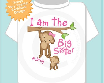 I am the Big Sister Shirt, Big Sister Onesie, Personalized Big Sister Shirt, Monkey Shirt with baby monkey (06182013a)