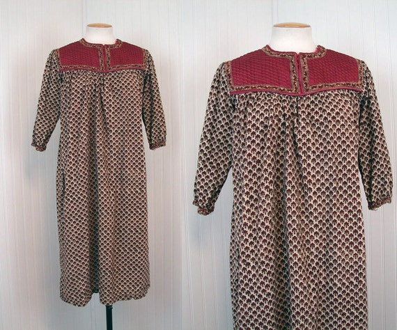 1970s Dress - Vintage 70s Indian Cotton Ethnic Hippie Boho India Tent Tunic Dress S M - The Ganges