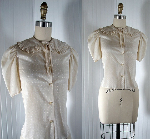 50s Blouse - Vintage 1950s Blouse Ivory Creme Puff Sleeve Cotton Blend 1950s Shirt XS - Dot the Dot