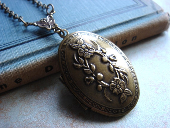 Garden Secrets - Necklace - Vintage Inspired Antiqued Brass Locket - Keepsake Jewelry - Large Oval Heirloom Locket Pendant