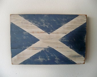 Distressed Scottish Flag Wood Wall Hanging