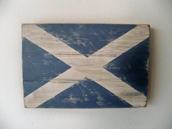 Distressed Scottish Flag Wood Wall Hanging