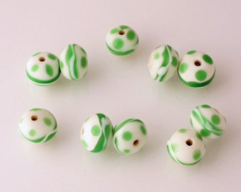 Handmade Lampwork Beads - rondelle - lot of 10 - LMP027