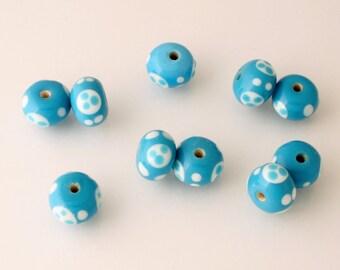 Handmade Lampwork Beads - rondelle - lot of 10 - LMP035