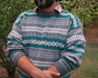 JACK FROST - Amazing Winter Sweater Pure New Wool Teal Gray White XL