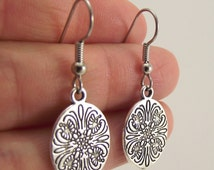 Small Etched Oval Pewter Earrings, Silver Earrings