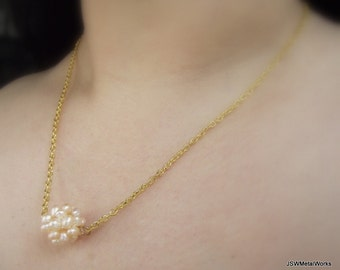 Peach Pearl Cluster Gold Necklace, Peach Pearl Necklace, Gold Necklace