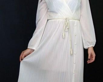 Vintage Sheer Cream DRESS, Custom Tailored, 1970s