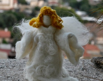 Needle felted-Nativity Set-Nativity-Waldorf  Angel-wool soft sculpture needle felt by Daria Lvovsky-