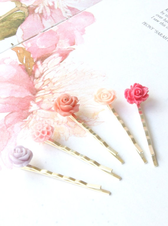 25% Holidays Sale Flower Hair Accessories Set of 5 hair clips -  Pink shabby chic - bridesmaid gift bridesmaid set