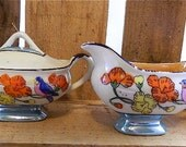 Vintage Lusterware, Lustreware Cream and Sugar, SALE, Flowers and Birds, Made in Japan: The Nightingale Sings