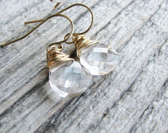 Gold Crystal Earrings Clear Prismatic Crystals Gold Filled Minimalist Modern Fresh Bridal Jewelry