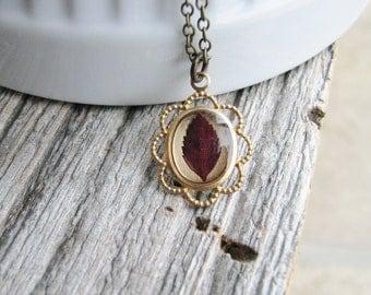 Real Leaf Necklace Crimson Red Spirea Leaf Botanical Bridal Jewelry Preserved Plant Nature Inspired Gardener Gift