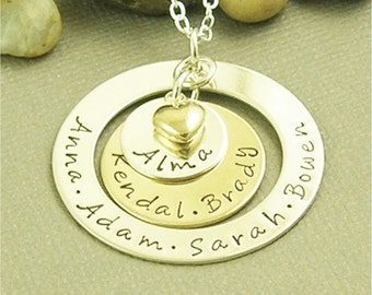 Hand Stamped Nana Necklace, Personalized Jewelry, Hand Stamped Grandma Necklace, Sterling Silver Gold Filled Mixed Metal Jewelry