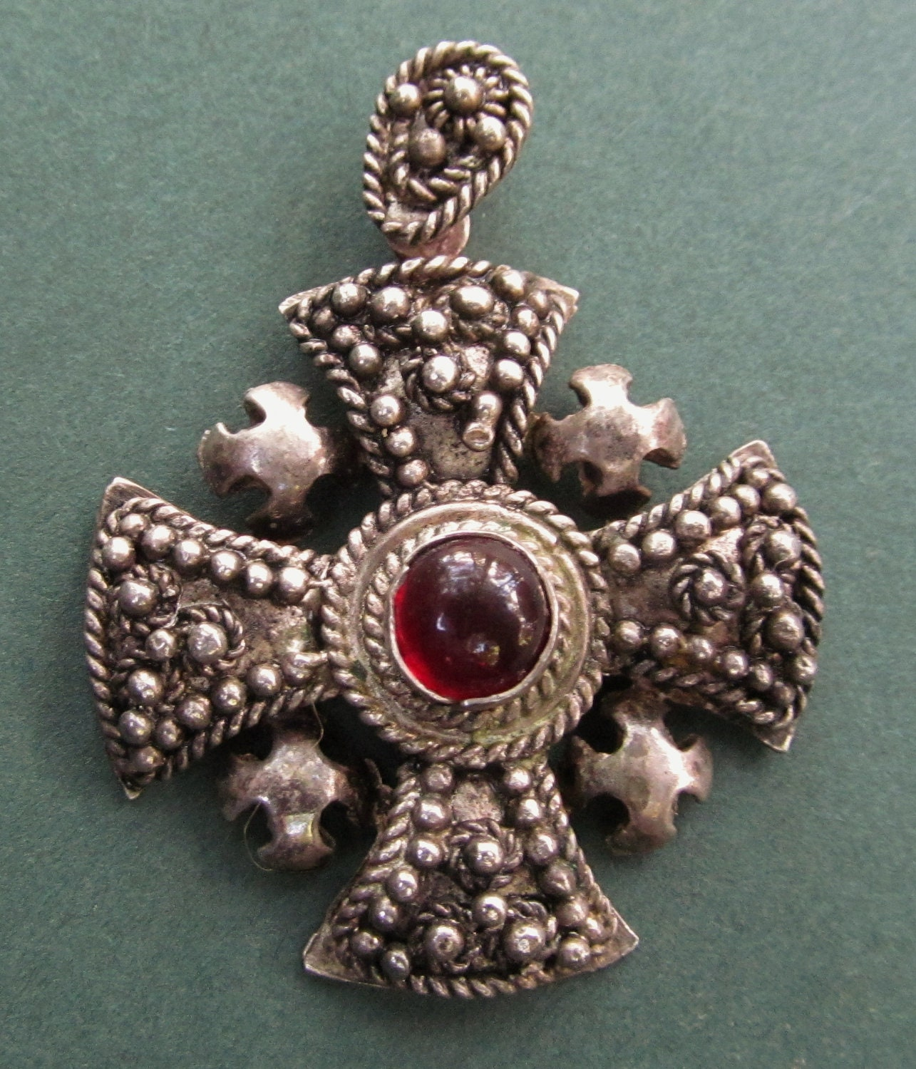 Silver Red Granite : Antique jerusalem cross silver red stone religious medal