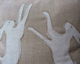 hand printed taupe linen  boxing hares  cushion cover
