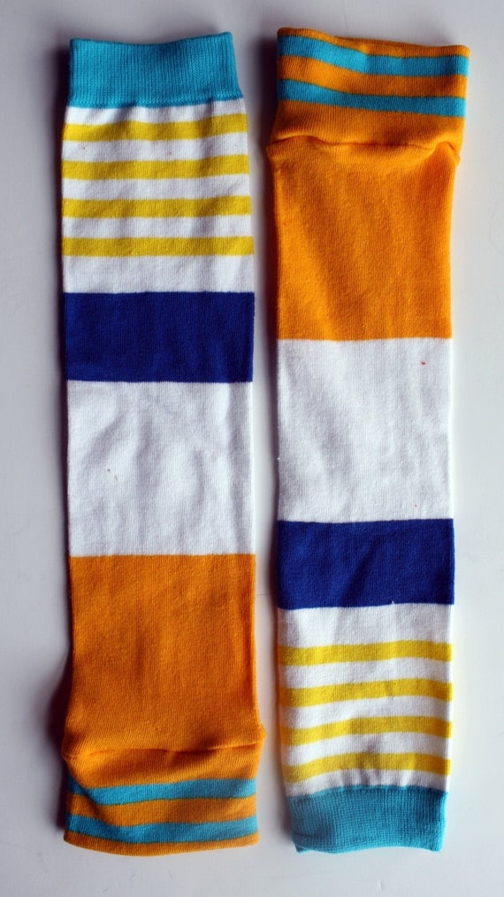 Yellow and Blue WIDE Nautical Stripe BeezLegz: Baby/Toddler/Child Leggings & Adult Arm Warmers