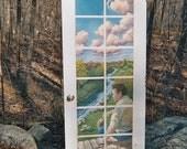 Original Wall Hanging, Trompe L'Oeil Door, Hand painted landscape, original painting, Impressionist  painting