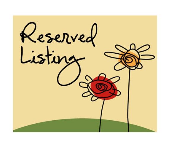 Reserved Listing for Vicki