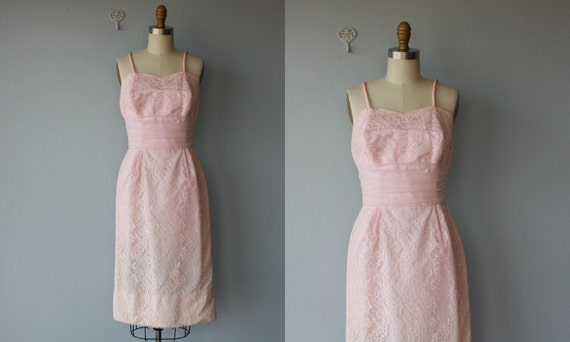 LAST CALL SALE / 1960s dress / 60s wiggle dress / pink lace cocktail dress / pink party / spaghetti strap dress - size small