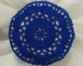 Hair Net / Bun Cover Crocheted Royal Blue Flower Style