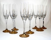 8 Wedding Glasses Hand Painted Champagne Flutes - Custom Set with Faceted Crystals - skyspirit8studios