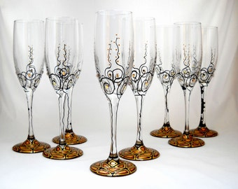 Toasting Flutes Hand Painted Personalized Flute Set with Faceted Crystals