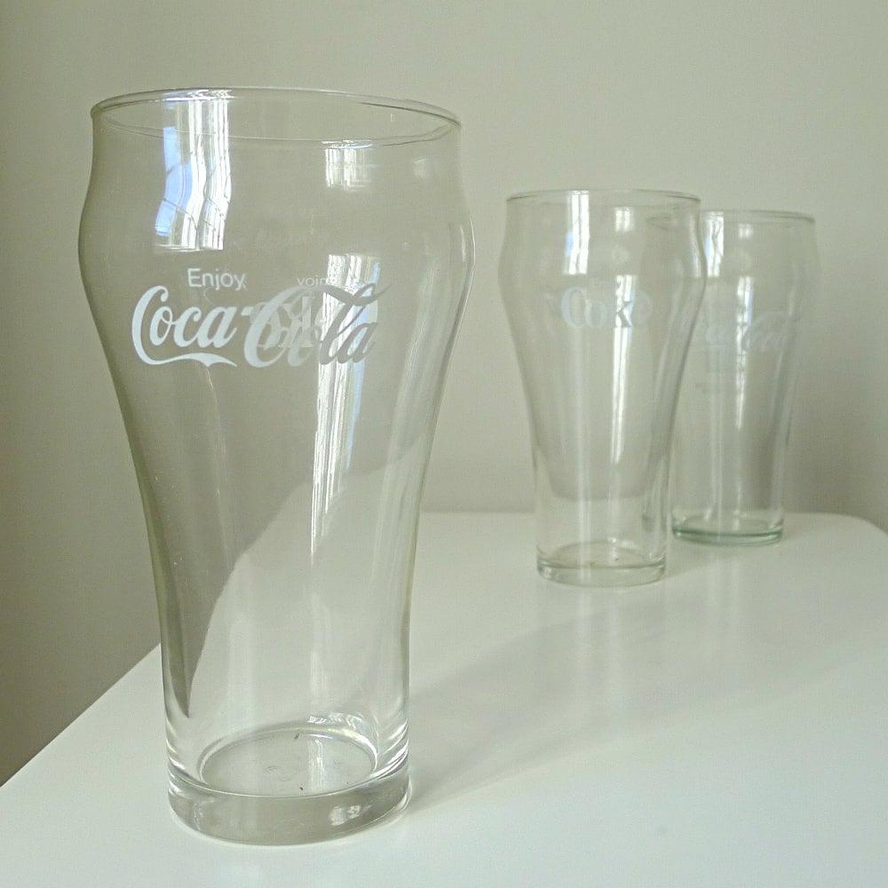 Vintage Coca Cola Drinking Glasses Set Of 3 1980s