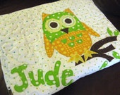 Handmade Baby Quilt - Modern Owl Baby Quilt - Personalized Name Quilt - Orange - Green - Yellow - Owl Boy Girl Quilt - Gender Neutral Quilt
