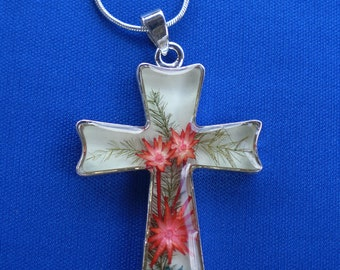 Cross with dried flowers