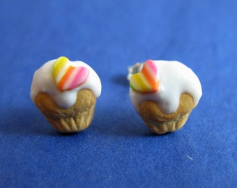 Miniature Food Jewelry Cupcake Earrings made from Fimo