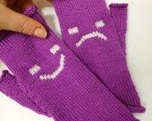 Happy & Sad Emoticon Fingerless Gloves -  Sad Face Smiley Wrist Warmers - purple