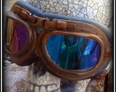 Steampunk Goggles Glasses  lenses loops cyber Aviator Club ---RARE-----Time Travel Crazy Scientist's Oculo-Vision Tool---biker motorcycle