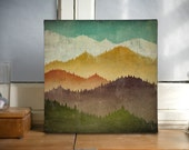 MOUNTAIN VIEW Smoky Mountains Green Mountains Gallery Wrapped Canvas Panel wall art 12x12x1.5 inches SIGNED