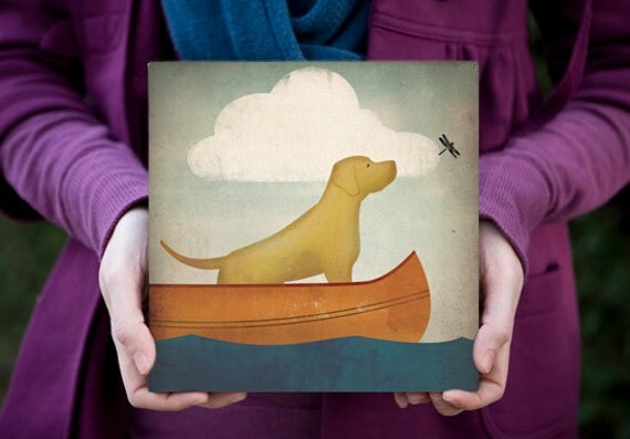 CANOE RIDE Black Dog (Yellow, Red, and Brown too) -  Graphic Art 8x8x1.5 inch CANVAS signed