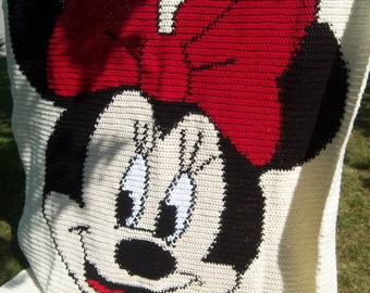 Minnie Mouse Crocheted Blanket - 54 x 68 inches - Made to Order - 8 Week Production Time