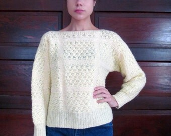 Vintage BUTTERCREAM YELLOW Knit Grid Sweater M/L