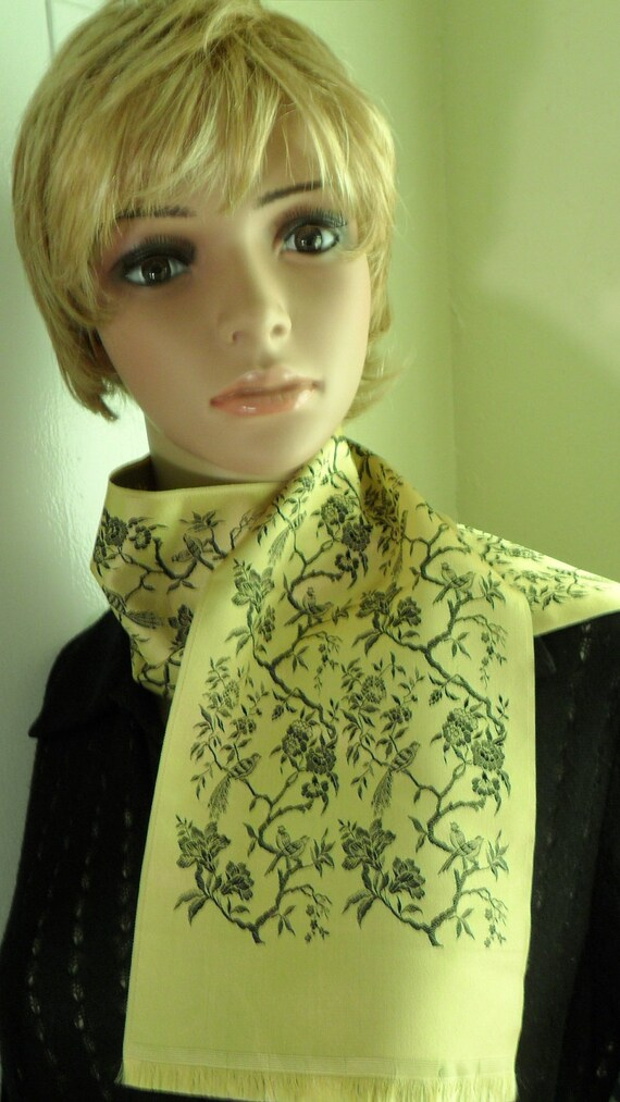 Oblong Gold and Black Vintage Scarf Made in FRANCE Birds Flowers Leaves Branches