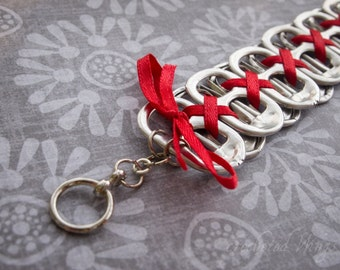 Red Pop Top Bracelet with Clasp