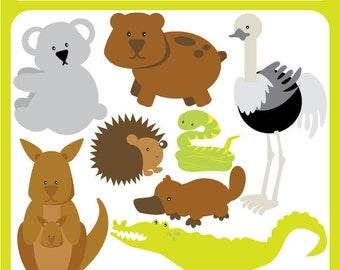 Australian Animals digital image download - animals australia, kangaroo, koala bear, platypus, emu, logo - Personal and Commercial Clip Art