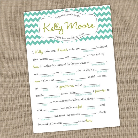 Printable Custom Bridal Shower Wedding Vows Mad Lib Pick