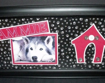 Dog (or Cat) Picture Frame - Personalized - Paw Prints Background - 8x20, 11x14 or 10x20 Frame Included -- You Choose Colors