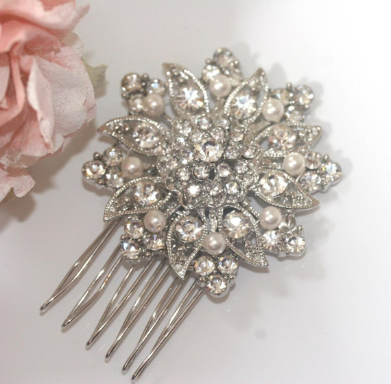 Rhinestone and Swarovski pearl bridal comb, Vintage style diamante and pearl wedding headpiece,